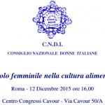 Il ruolo femminile nella cultura alimentare – Dicembre 2015 – Roma