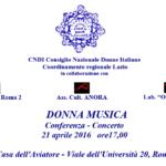 DONNA MUSICA Conferenza/Concerto – 21 aprile 2016
